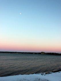 Moon over Narragansett Bay.