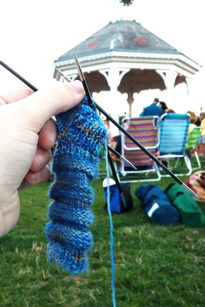Re-knitting the sock foot.